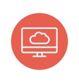 Monitor with cloud thin line icon vector image vector image
