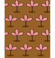Pink plants on Brown background seamless patetrn vector image