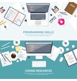 Programmingcoding Flat computing background vector image