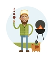 Barbecue and man with cat vector image