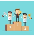 Businessmen or managers on the podium with the vector image