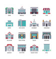government buildings flat icons set vector image