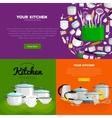 home and restaurant kitchenware banner set vector image