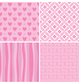 set of pink seamless patterns vector image