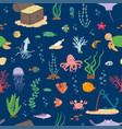 underwater life cartoon seamless pattern vector image