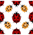 Red and yellow ladybugs with seven and five points vector image