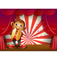 A monkey with cymbals and musical notes at the vector image vector image