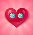 kawaii heart blue eyes vector image vector image
