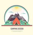 flat design of vintage landscape and camping tent vector image