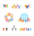 Icons set of successful teamwork and cooperation vector image vector image