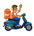 delivery man with scooter vector image vector image