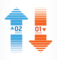 arrows line orange and blue color vector image vector image