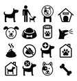 Dog pet icons set - vet dogs food dog hotel vector image