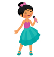Asian little girl singing hold the microphone vector image