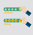 business hand with star icon for reviews hand vector image