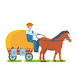 farmer rides horse on cart engaged farm craft vector image