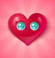kawaii heart blue eyes vector image
