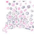 social media hand drawn elements flying out vector image