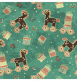 seamless pattern with horses and gifts vector image vector image