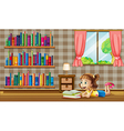 A girl reading books near the window vector image vector image