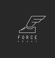 Shoes logo with wing in view letter F mockup