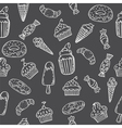 Hand drawn seamless pattern with cupcakes sweets vector image
