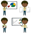 Cute funny African-American office worker vector image