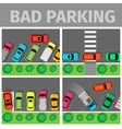 Bad Parking Set Car Parked in Inappropriate Way vector image