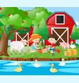 farm scene with kids planting tree vector image