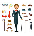 fashioned retro gentleman with different vector image