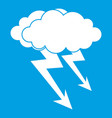 lightning cloud icon white vector image