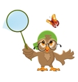 Owl Catches butterfly Bird and butterfly net vector image