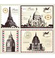 Set of paris and london symbols vector image