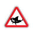 Sign of attention to shark Red triangle with vector image