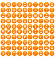 100 music icons set orange vector image
