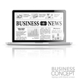 Concept - Digital News Laptop with Business News vector image vector image