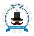 fathers day card best dad ever hat mustache vector image