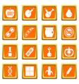gmo icons set orange vector image