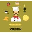 French national cuisine flat icons vector image
