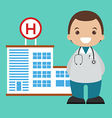 Doctor and hospital background vector image