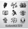 Set of karaoke singing freehand icons - microphone vector image