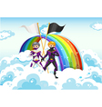 Superheroes in the sky near the rainbow vector image