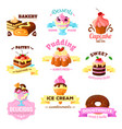 dessert cakes sweets icons for patisserie vector image