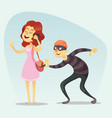 - funny comic thief steals a vector image