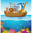 A boat at the sea with animals vector image vector image