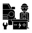 auto service icon black sign vector image