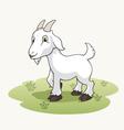 Cute cartoon goat on the grass vector image