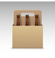 Closed Transparent Bottles Dark Beer and Package vector image