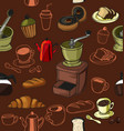doodle coffee pattern vector image