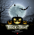 Halloween trick or treat pumpkin vector image